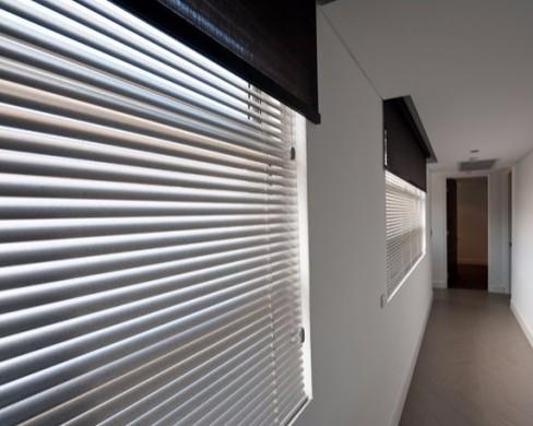 aluminium venetian blinds in hallway